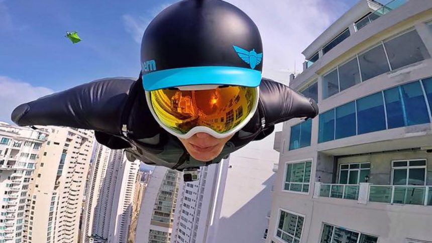 Brandon Mikesell Urban BASE flying wingsuit squirrel